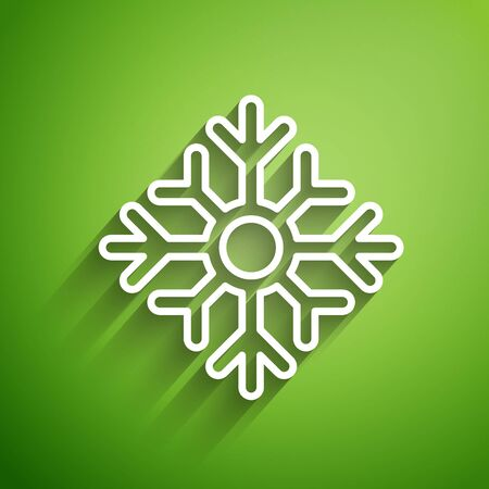White line Snowflake icon isolated on green background. Merry Christmas and Happy New Year. Vector Illustration Foto de archivo - 139787406