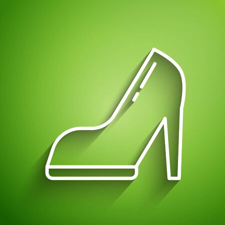 White line Woman shoe with high heel icon isolated on green background. Vector Illustration Illusztráció