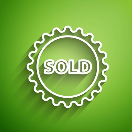 White line Sold label icon isolated on green background. Vector Illustration