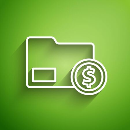 White line Envelope with coin dollar symbol icon isolated on green background. Salary increase, money payroll, compensation income. Vector Illustration Illustration