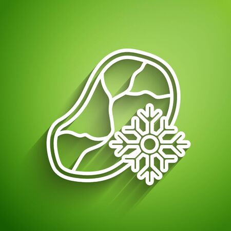 White line Fresh frozen steak meat icon isolated on green background. Vector Illustration Illustration