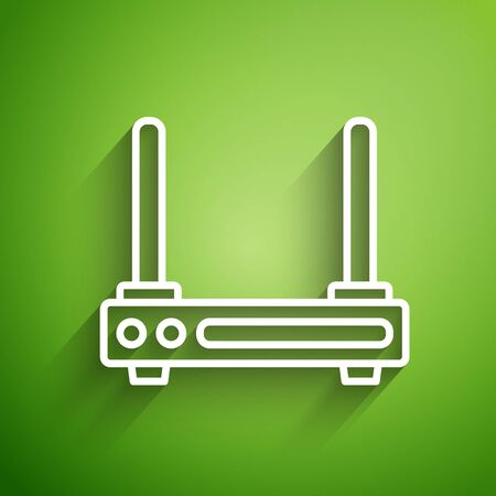 White line Router and wi-fi signal symbol icon isolated on green background. Wireless ethernet modem router. Computer technology internet. Vector Illustration