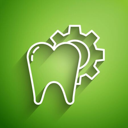 White line Tooth treatment procedure icon isolated on green background. Tooth repair with gear. Vector Illustration