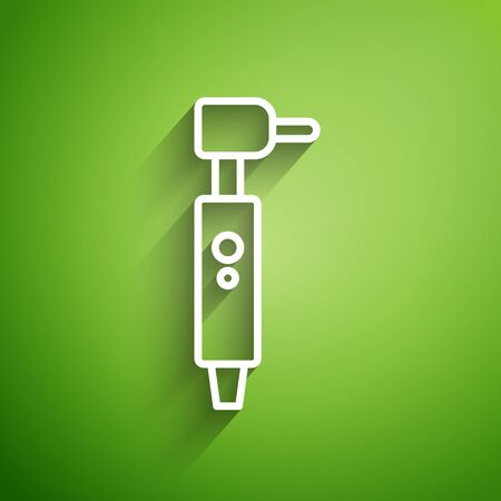 White line Tooth drill icon isolated on green background. Dental handpiece for drilling and grinding tools. Vector Illustration