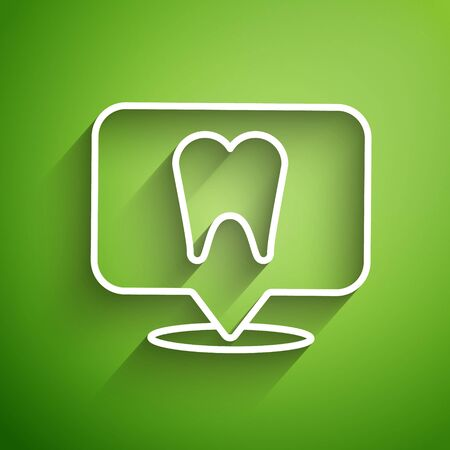 White line Dental clinic location icon isolated on green background. Vector Illustration