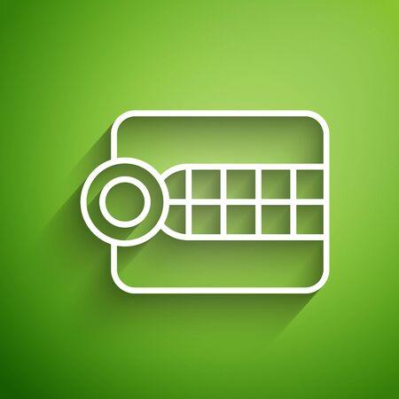 White line Dentures model icon isolated on green background. Dental concept. Vector Illustration 向量圖像
