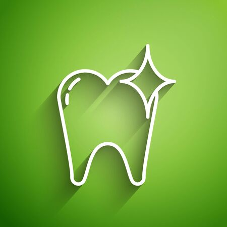 White line Tooth whitening concept icon isolated on green background. Tooth symbol for dentistry clinic or dentist medical center. Vector Illustration