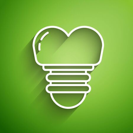 White line Dental implant icon isolated on green background. Vector Illustration