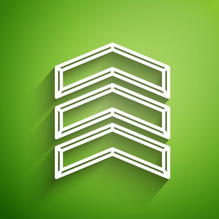 White line Military rank icon isolated on green background. Military badge sign. Vector Illustration