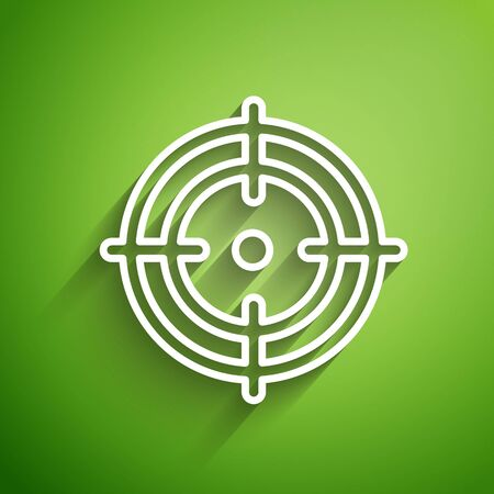 White line Target sport icon isolated on green background. Clean target with numbers for shooting range or shooting. Vector Illustration Vettoriali