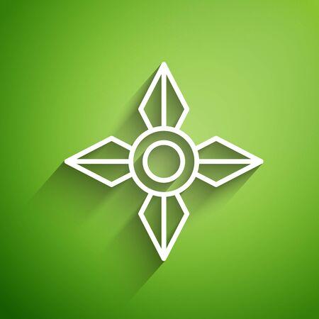 White line Japanese ninja shuriken icon isolated on green background. Vector Illustration Ilustração