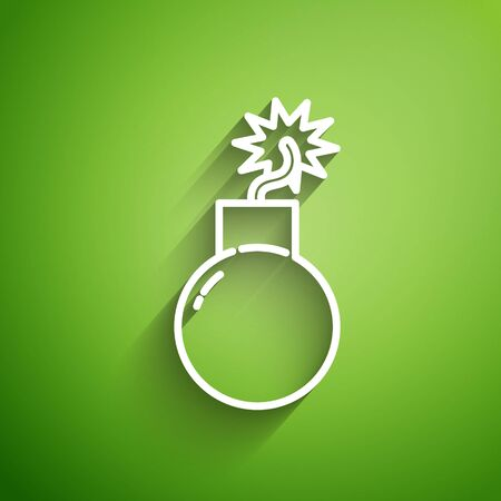 White line Bomb ready to explode icon isolated on green background. Vector Illustration