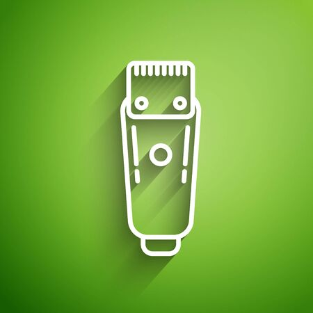 White line Electrical hair clipper or shaver icon isolated on green background. Barbershop symbol. Vector Illustration