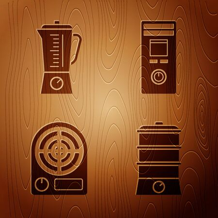 Set Double boiler , Blender , Electric heater  and Remote control on wooden background. Vector