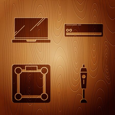 Set Blender , Laptop , Bathroom scales  and Air conditioner  on wooden background. Vector Illusztráció