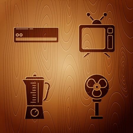 Set Electric fan , Air conditioner , Blender  and Television on wooden background. Vector Illusztráció
