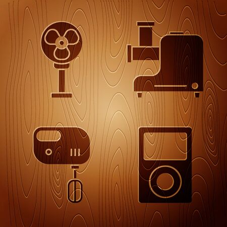 Set Music player , Electric fan , Electric mixer  and Kitchen meat grinder  on wooden background. Vector
