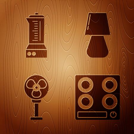 Set Gas stove , Blender , Electric fan  and Table lamp  on wooden background. Vector