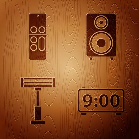 Set Digital alarm clock , Remote control , Electric heater  and Stereo speaker  on wooden background. Vector Illustration