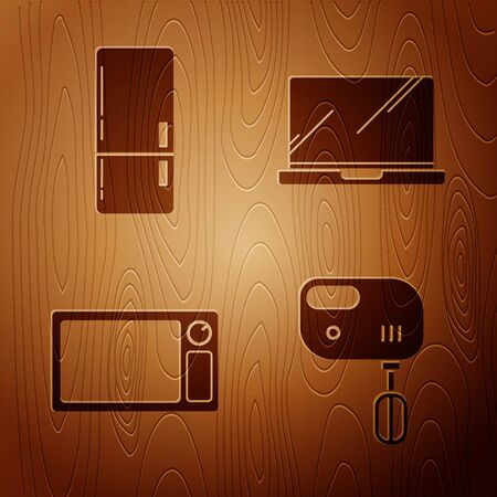 Set Electric mixer , Refrigerator , Microwave oven  and Laptop  on wooden background. Vector