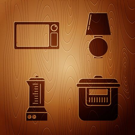 Set Slow cooker , Microwave oven , Blender  and Table lamp  on wooden background. Vector Illusztráció