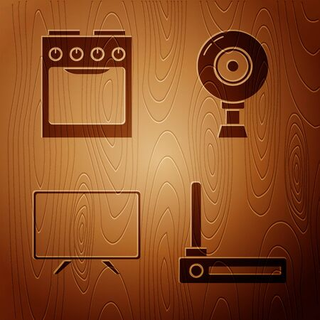 Set Router and wifi signal , Oven , Smart Tv and Web camera on wooden background. Vector