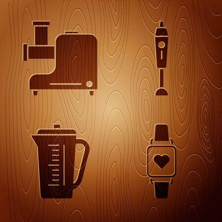 Set Smart watch showing heart beat rate , Kitchen meat grinder , Measuring cup and Blender on wooden background. Vector