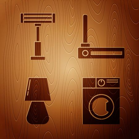 Set Washer , Electric heater , Table lamp and Router and wifi signal on wooden background. Vector