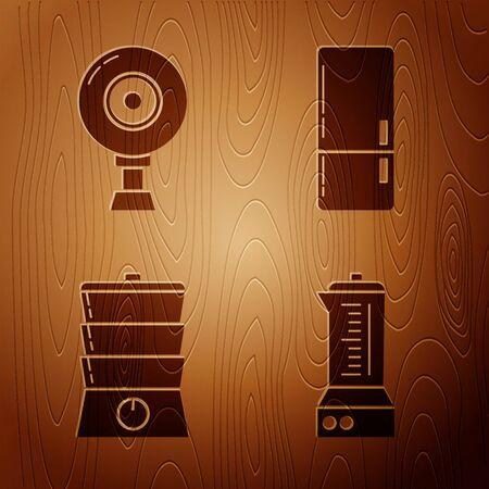 Set Blender , Web camera , Double boiler and Refrigerator on wooden background. Vector