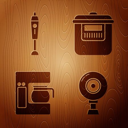 Set Web camera , Blender , Coffee machine with glass pot  and Slow cooker  on wooden background. Vector Illusztráció