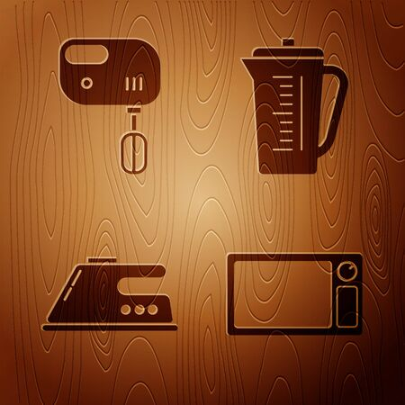 Set Microwave oven , Electric mixer , Electric iron and Measuring cup on wooden background. Vector Illusztráció