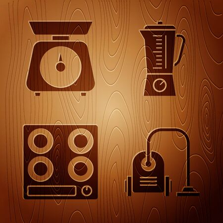 Set Vacuum cleaner , Scales , Gas stove and Blender on wooden background. Vector