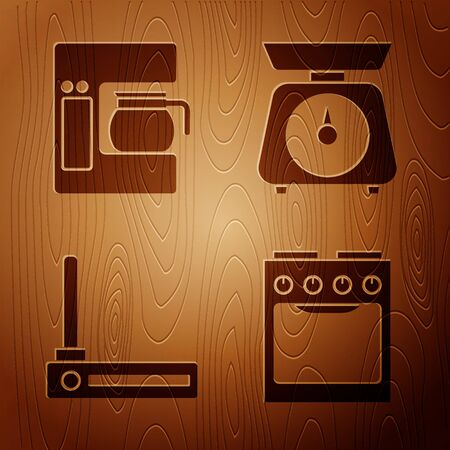 Set Oven , Coffee machine with glass pot , Router and wifi signal and Scales on wooden background. Vector