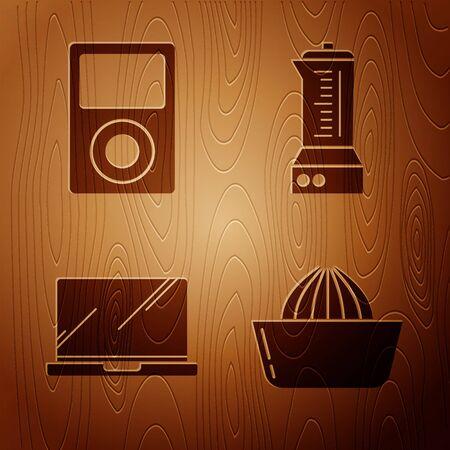 Set Citrus fruit juicer , Music player , Laptop and Blender on wooden background. Vector