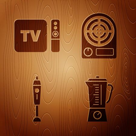 Set Blender , TV box receiver and player with remote controller , Blender and Electric heater on wooden background. Vector