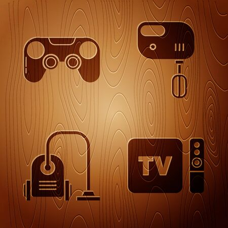 Set TV box receiver and player with remote controller , Gamepad , Vacuum cleaner and Electric mixer on wooden background. Vector