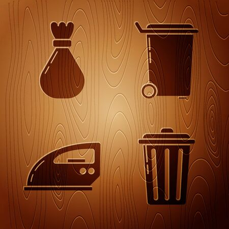 Set Trash can , Garbage bag , Electric iron and Trash can on wooden background. Vector Vectores