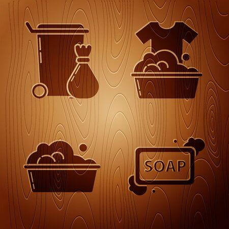 Set Bar of soap with foam , Trash can , Plastic basin with soap suds and Plastic basin with soap suds on wooden background. Vector Ilustração