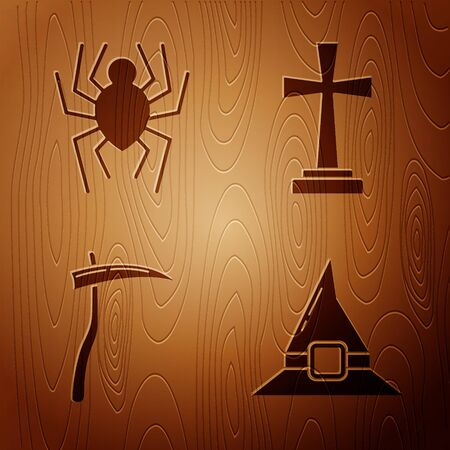 Set Witch hat , Spider , Scythe and Tombstone with cross on wooden background. Vector
