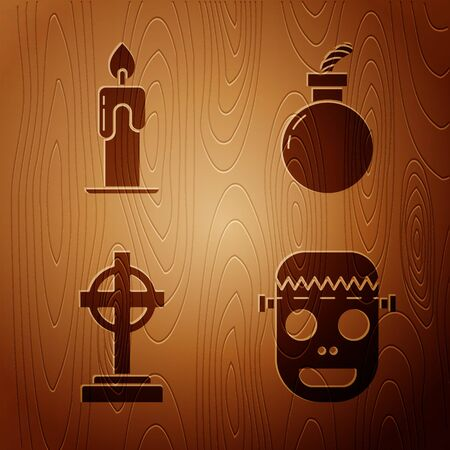 Set Zombie mask , Burning candle , Tombstone with cross and Bomb ready to explode on wooden background. Vector