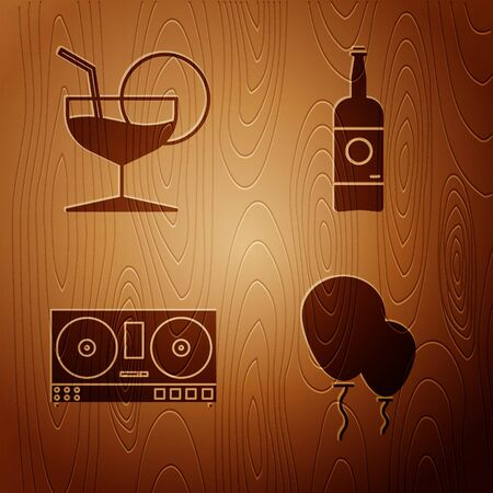 Set Balloons with ribbon , Martini glass , DJ remote for playing and mixing music and Beer bottle on wooden background. Vector