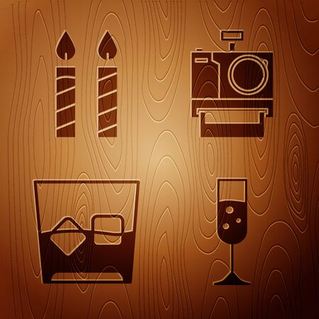 Set Glass of champagne , Birthday cake candles , Glass of whiskey and ice cubes and Photo camera on wooden background. Vector
