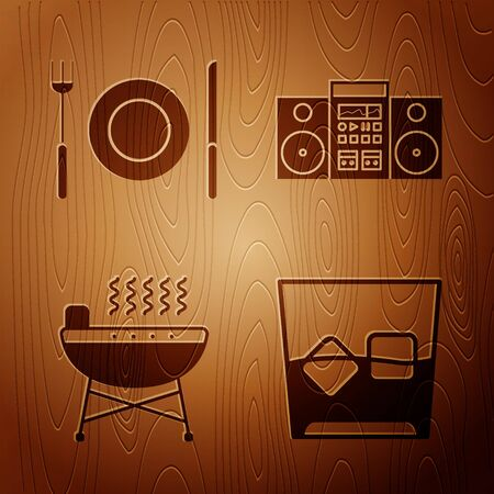 Set Glass of whiskey and ice cubes , Plate, fork and knife , Barbecue grill and Home stereo with two speakers on wooden background. Vector