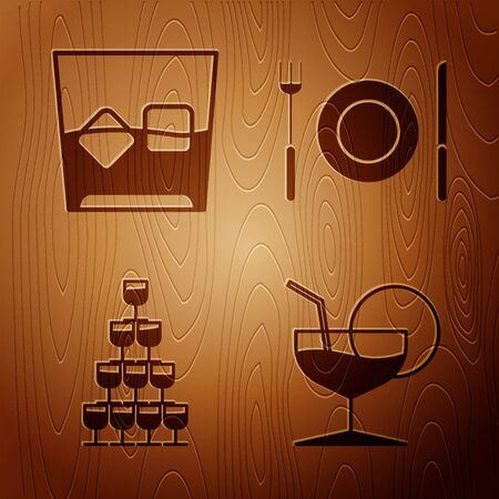 Set Martini glass , Glass of whiskey and ice cubes , Wine glasses stacked in a pyramid tower and Plate, fork and knife on wooden background. Vector Stock Illustratie