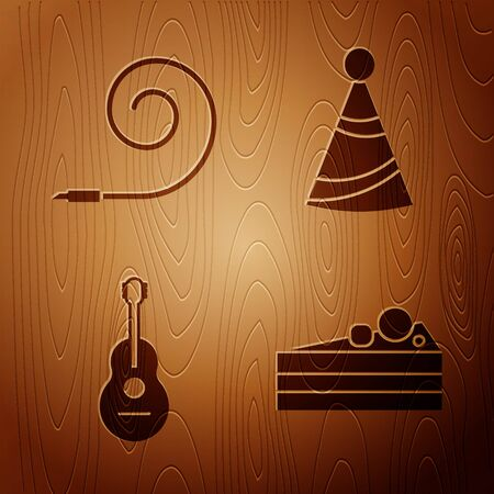 Set Cake , Birthday party horn , Guitar and Party hat on wooden background. Vector