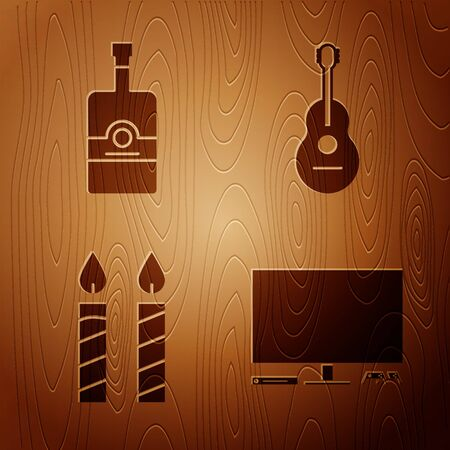 Set Video game console , Whiskey bottle , Birthday cake candles and Guitar on wooden background. Vector