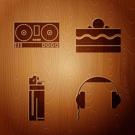 Set Headphones , DJ remote for playing and mixing music , Lighter and Cake on wooden background. Vector