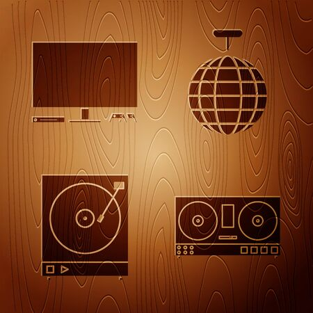 Set DJ remote for playing and mixing music , Video game console , Vinyl player with a vinyl disk and Disco ball on wooden background. Vector