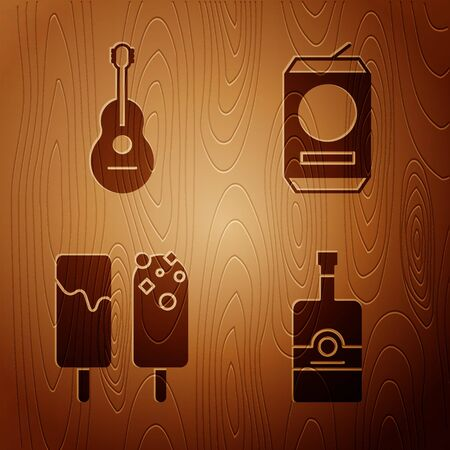 Set Whiskey bottle , Guitar , Ice cream and Beer can on wooden background. Vector Ilustração
