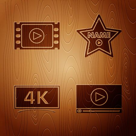 Set Online play video , Play Video , Screen tv with 4k Ultra HD video technology and Hollywood walk of fame star on celebrity boulevard on wooden background. Vector